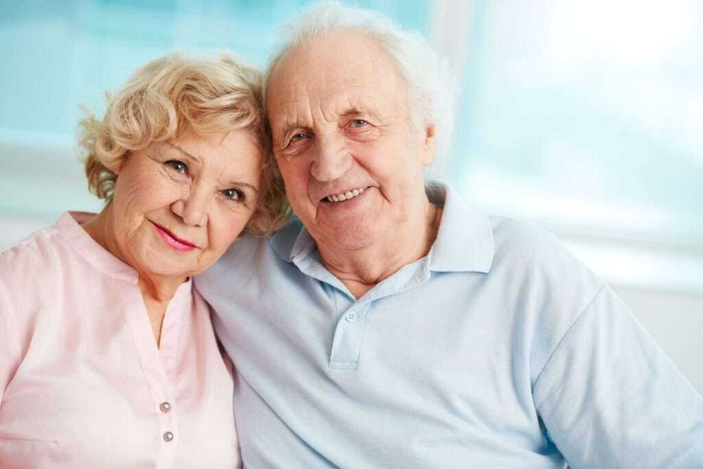 Senior couple at home, in home care