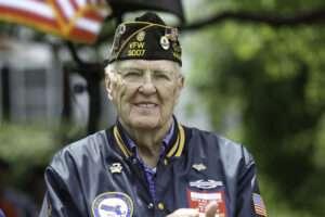 Veteran at parade outside